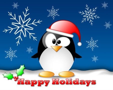 Happy Holidays Crystal Penguin